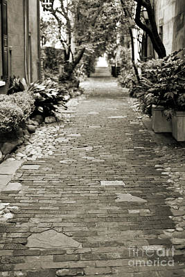 Patchwork Pathway In Sepia Aka Philadelphia Alley Poster