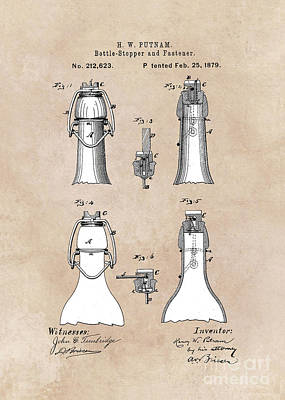 patent Putnam Bottle Stopper and Fastener 1879s Poster by Justyna JBJart