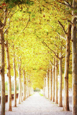 Pathway Lined With Trees Artistic Painting Poster