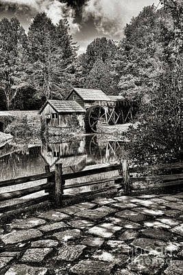 Poster featuring the photograph Pathway To Marby Mill In Black And White by Paul Ward
