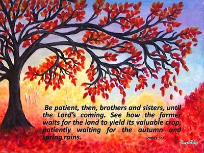 Poster featuring the painting Patient Autumn Tree by Sonya Nancy Capling-Bacle