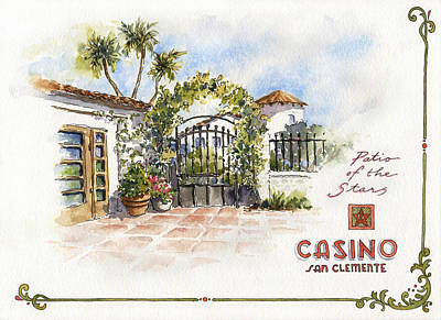 Patio Of The Stars At The Casino Poster by Leslie Fehling