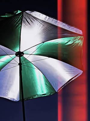 Patio Umbrella Staged Poster by Jarmila Kostliva
