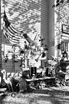 Patiotic Antiques In Metamora Bw Poster by Mel Steinhauer