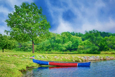 Patriotic Canoe - 2 - Red White Blue Poster