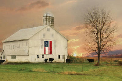 Patriotic Cattle Farm Poster by Lori Deiter