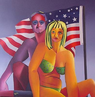Poster featuring the painting Patriotic Couple by Karin Eisermann