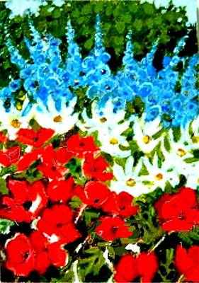 Poster featuring the painting Patriotic Garden by Diane Ursin