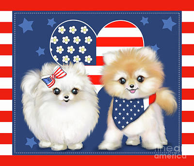 Poster featuring the painting Patriotic Pomeranians by Catia Lee