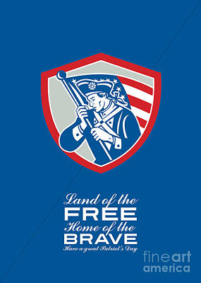 Patriots Day Greeting Card American Patriot  Waving Flag Shield Poster by Aloysius Patrimonio