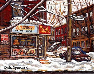 Paul Patate Restaurant Streets Of Verdun And Psc Paintings Canadian Artist Carole Spandau            Poster