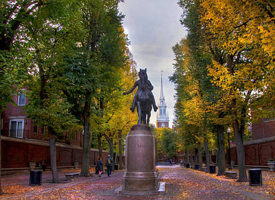 Paul Revere And Old North Church - Boston Poster