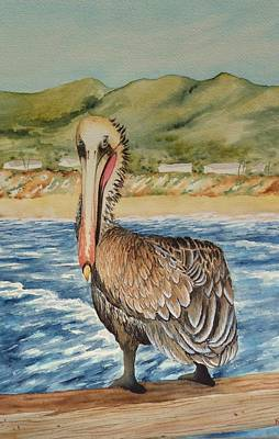 Poster featuring the painting Paula's Pelican by Katherine Young-Beck