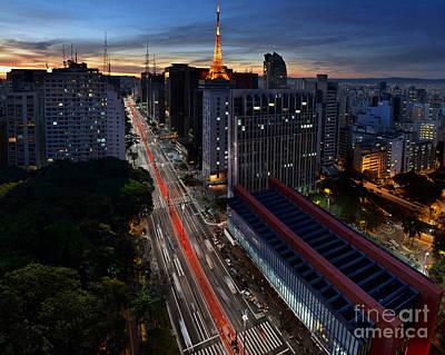 Paulista Avenue And Masp At Dusk - Sao Paulo - Brazil Poster by Carlos Alkmin