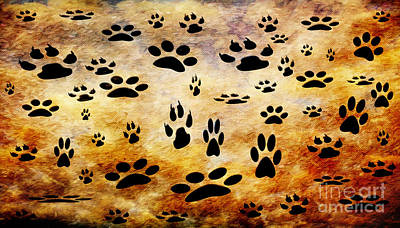 Poster featuring the digital art Paw Prints by Andee Design