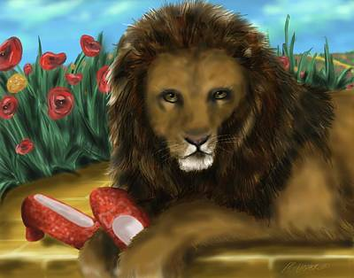 Poster featuring the digital art Paws Off My Ruby Slippers by Meagan  Visser