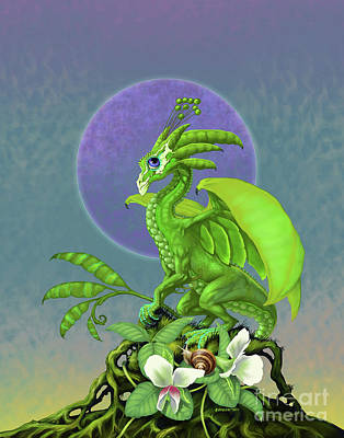 Poster featuring the digital art Pea Pod Dragon by Stanley Morrison