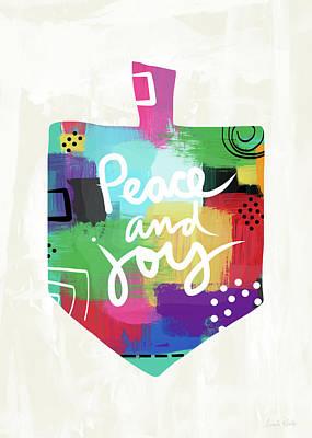 Peace And Joy Dreidel- Art By Linda Woods Poster by Linda Woods