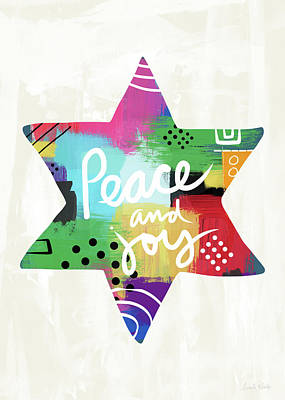Peace And Joy Star-art By Linda Woods Poster by Linda Woods