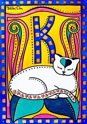 Poster featuring the painting Peace And Love - Cat Art By Dora Hathazi Mendes by Dora Hathazi Mendes