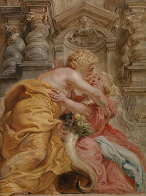 Peace Embracing Plenty Poster by Peter Paul Rubens