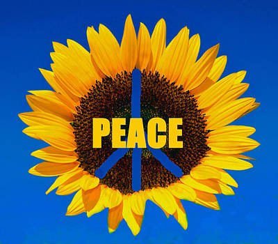 Poster featuring the digital art Peace Flower Power by David Lee Thompson