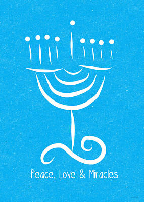Peace Love And Miracles With Menorah Poster by Linda Woods