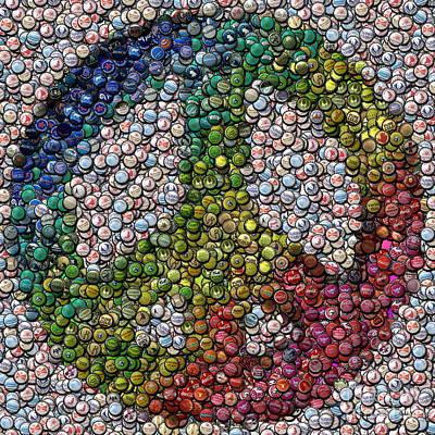 Poster featuring the digital art Peace Sign Bottle Cap Mosaic by Paul Van Scott