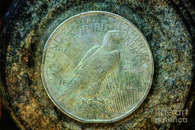 Poster featuring the digital art Peace Silver Dollar Reverse by Randy Steele
