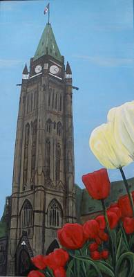 Poster featuring the painting Peace Tower by Betty-Anne McDonald