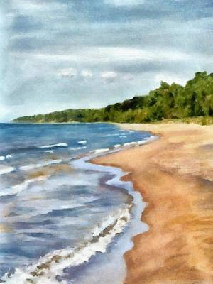Peaceful Beach At Pier Cove Ll Poster by Michelle Calkins
