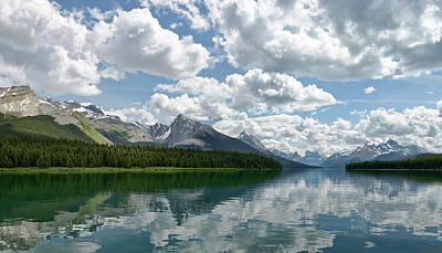 Poster featuring the photograph Peaceful Maligne Lake by Sebastien Coursol