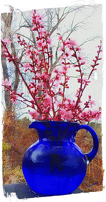 Peach Blossoms Blue Pitcher I Poster by Anastasia Savage Ealy