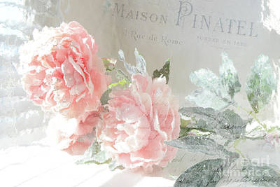 Peach Peonies Impressionistic Peony Floral Prints - French Impressionistic Peach Peony Prints Poster