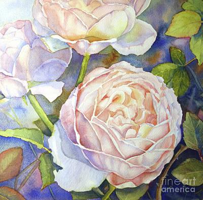 Peach Roses Poster by Bonnie Rinier