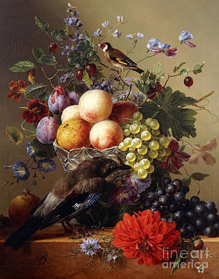 Peaches, Grapes, Plums And Flowers In A Glass Vase With A Jay On A Ledge Poster