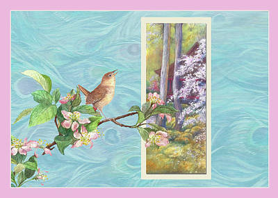 Peacock And Cherry Blossom With Wren Poster