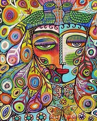 Peacock Emerald Lovebirds Goddess Poster