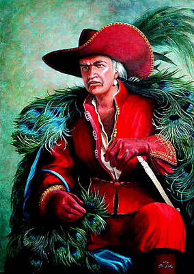 Poster featuring the painting Peacock Feathers Connery by Loxi Sibley