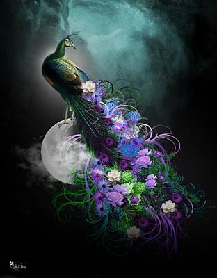 Peacock Of  Flowers Poster