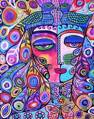 Peacock Pink Butterfly Goddess Poster by Sandra Silberzweig