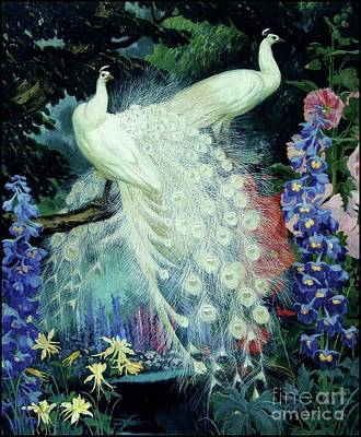 Poster featuring the painting Peacocks And Hollyhocks by Pg Reproductions