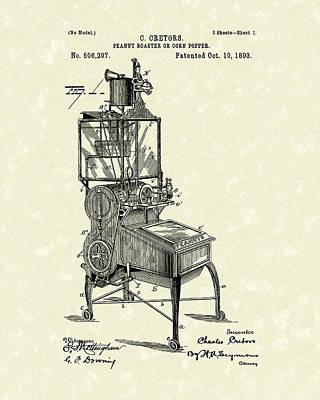 Peanut Roaster Or Corn Popper 1893 Patent Art Poster