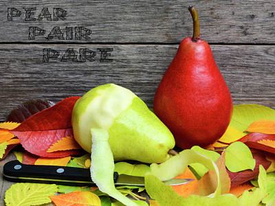 Pear, Pair, Pare - Play On Words Autumn Harvest Scene Poster by Rayanda Arts