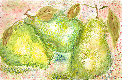 Poster featuring the painting Pear Trio by Paula Ayers