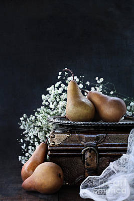 Poster featuring the photograph Pears And Baby's Breath by Stephanie Frey