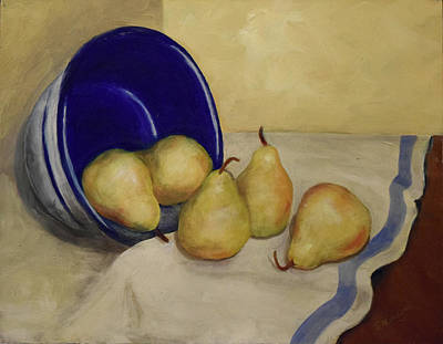 Pears And Blue Bowl Poster by Sandra Nardone