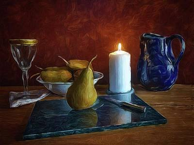 Poster featuring the photograph Pears By Candlelight by Mark Fuller