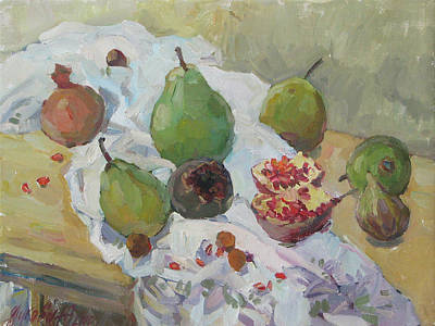 Pears Figs And Young Pomegranates Poster