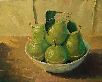 Pears In A White Bowl Poster by Robert Lewis